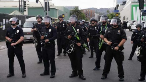 Hollywood-A-Group-of-Police-Officers-Standing-During-Protest